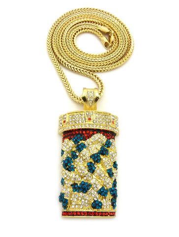 "Colored Stone Stud Pill Bottle pendant w/4mm 36"" Franco Chain, Gold-Tone"