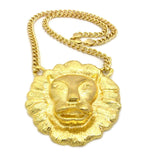"Gold-Tone Smooth Mane Lion Head Pendant w/ 10mm 30"" Cuban Chain Necklace"