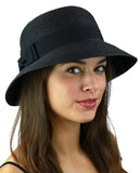 C.C Women's Paper Woven Cloche Bucket Hat with Black Bow Band
