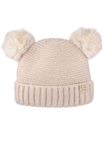 1d533eb853d C.C Kids' Children's Double Ear Soft Pom Fuzzy Lined Cuff Beanie Cap