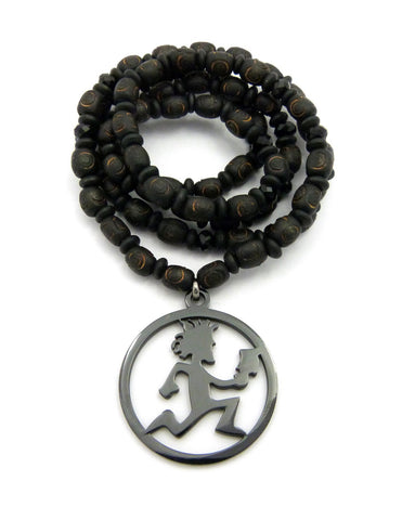 "Hatchetman® Pendant w/ 8mm 30"" Wood Bead & Black Glass Bead Necklace"