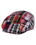 NYFASHION101 Men's Cotton Plaid Patchwork Buttoned Duck Bill Newsboy Ivy Cap