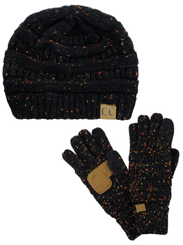 7fde8131e5a C.C Colorful Confetti Cable Knit Beanie and Anti-Slip Touchscreen Gloves Set