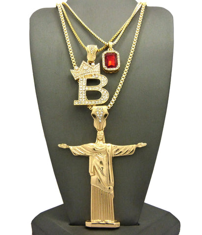 Colored Gemstone, Tilted Crown Initial B, Christ the Redeemer Pendant Set w/ Chain Necklaces