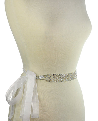 Women's Netted Pattern Rhinestone Elegant Sash Belt with Mesh Ribbon in Silver-Tone