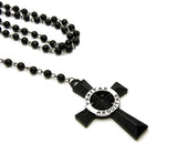 "Colored Veritas Aequitas Cross Pendant with 6mm 30"" Black Stone Rosary Necklace"