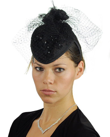 NYFASHION101 Cocktail Teardrop Sinamay Fascinator Hat w/ Fish Net & Rhinestones