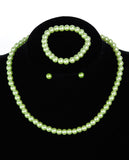 Girl's Simulated Pearl Necklace with Stretch Bracelet & Ball Stud Earrings
