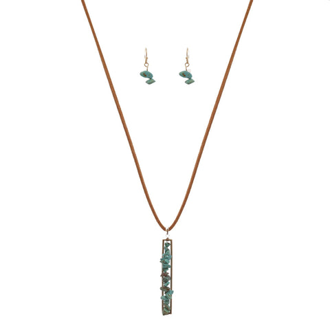 Women's Stone Collection Pendant Faux Suede Necklace and Earrings Set