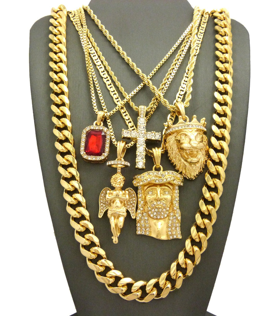 hip hop jewelry 5 piece pendant set w various chain