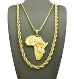 "Power Fist on Africa Pendant on Box Chain with 6mm 30"" Rope Chain Necklace in Gold-Tone"