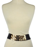 Women's Wide Gold-Tone Dual Link Chain Elastic Stretch Waist Belt