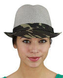 C.C. Unisex Camouflage Band and Brim Weaved Fedora Trilby Hat