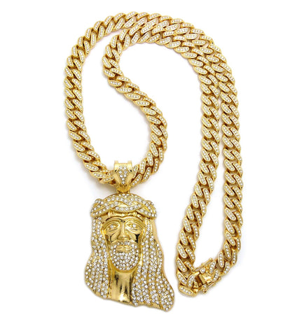 "Stone Stud Thick Hair Jesus Head Pendant with 12mm 30"" Iced Out Cuban Chain Necklace in Gold-Tone"