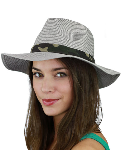 C.C Teardrop Dent Paper Woven Panama Sun Beach Hat with Camouflage Band
