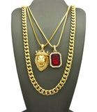 Colored Gemstone & Hip Hop Pendant Set on Box Chains with Cuban Chain in Gold-Tone