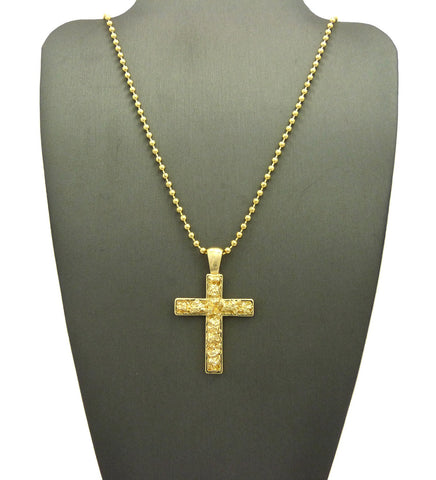 Gold-Tone Polished Nugget Cross Micro Pendant w/ Chain Necklace