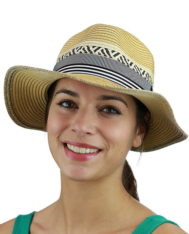 C.C Women's Paper Woven Panama Sun Beach Hat with Striped Band, Natural