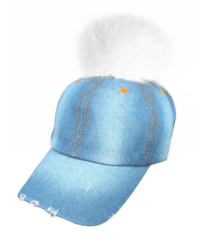 Faux Fur Pom Pom Vintage Denim-Feel Adjustable Baseball Cap Hat