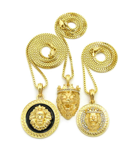 Lion Head Trio Pendant Set with Gold-Tone Box Chain Necklaces