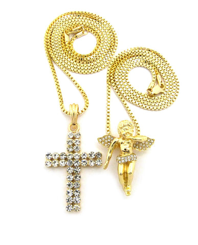 "Floating Angel & 2 Row Stone Cross Pendant Set w/ 24"" & 30"" Box Chain Necklaces in Gold-Tone"