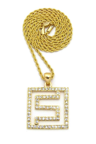 Hip-Hop Style Stone Stud Maze Pendant w/Chain Necklace, Gold-Tone