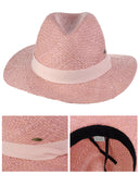 C.C Women's Raffia Straw Weaved Panama Sun Hat with Ribbon Trim