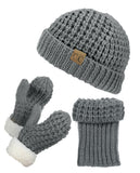 NYfashion101 Exclusive Thick Braided Cable Knit Boot Cuff, Beanie & Mitten Set