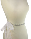 Wavy 3 Row Rhinestone Link Sash Belt with Mesh Ribbon in Silver-Tone