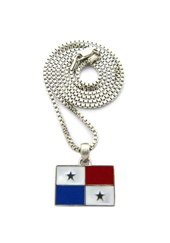 Flag of Panama Micro Pendant with Chain Necklace