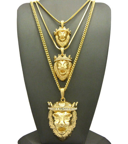 King Lion Pendant Triple Set w/ Rope, Snake and Cuban Chain Necklaces in Gold-Tone