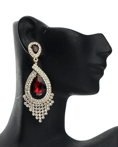 Dazzling Chandelier Teardrop Red Stone Dangling Earrings in Gold-Tone