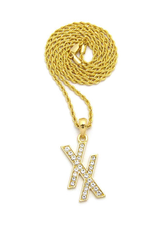 "Stone Stud Double X Pendant w/ 2mm 24"" Rope Chain Necklace"