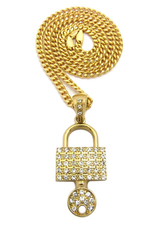 "Stone Stud Padlock with Key Pendant w/5mm 24"" Cuban Chain Necklace"