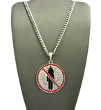"Red Stone Stud Border Rapper Music Video Monster Logo Pendant w/ 24"" Chain Necklace"
