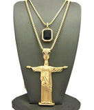 "Colored Gemstone & Christ the Redeemer Pendant Set w/ 24"" & 30"" Box Chain Necklaces in Gold-Tone"
