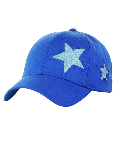 0fa4ccad7e5b38 C.C Women's Glitter Star Cut Design Cotton Adjustable Precurved Baseball Cap  Hat