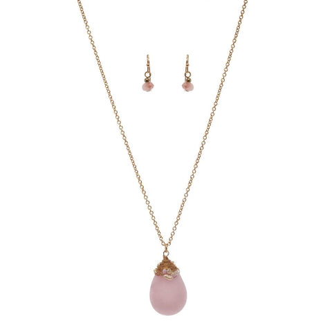 Women's Wired Flat Oval Stone Pendant Necklace and Earrings Set