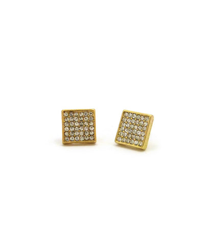 6 Stone Row Square Shape Stud Pierced Earrings