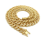 Hip-Hop Rapper's Style 12mm Iced Out Gold-Tone Cuban Chain Necklace with Box Clasp, 30""