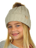 C.C Kids' Children's Cable Knit Faux Fuzzy Fur Pom Fleece Lined Cuff Beanie