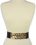 Women's Dual Gold-Tone Link Chain Elastic Stretch Waist Belt