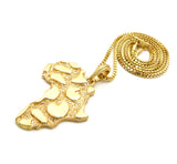 "Nugget Africa Continent Pendant with 2mm 24"" Box Chain Necklace, Gold-Tone"