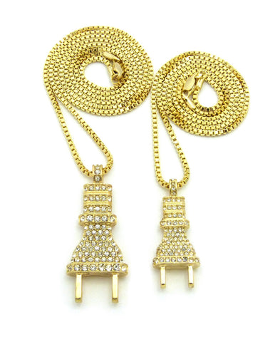 Dual Stone Stud Power Plug Pendant Set w/ Gold-Tone Box Chain Necklaces - 2049G