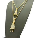 Dual Stone Stud Power Plug Pendant Set w/ Gold-Tone Box Chain Necklaces - 2050G