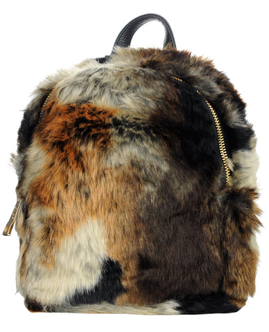 C.C Women's Faux Fur Fuzzy Backpack Schoolbag Shoulder Bag Purse, Brown