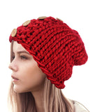 NYfashion101 Wood Button Accent Handmade Big Loop Winter Knit Beanie Hat