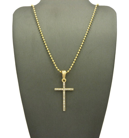 Slim Stone Stud Cross Pendant with Chain Necklace