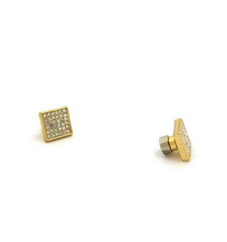 6 Stone Row Square Shape Stud Magnetic Earrings