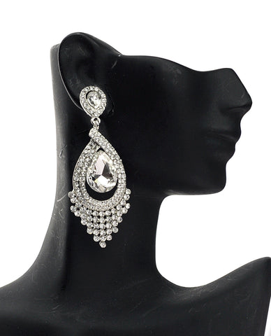 Dazzling Chandelier Teardrop Clear Stone Dangling Earrings in Silver-Tone